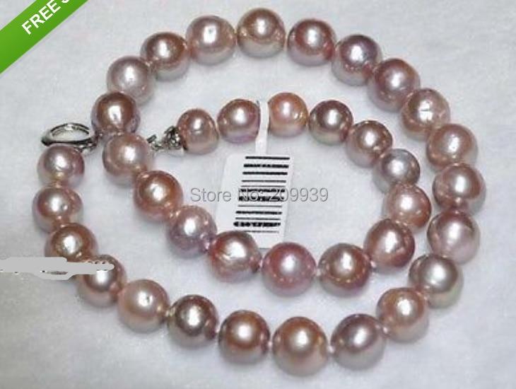 Huij 00668 naturel 10 - 12 mm violet nucléées collier de perles
