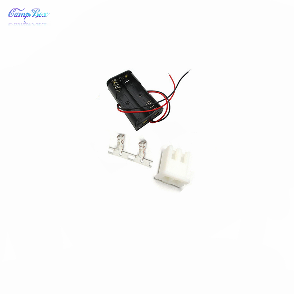 50Pcs 2xAA Battery Case Holder Socket Wire Junction Boxes With 15cm Wires XH 2 54 Header