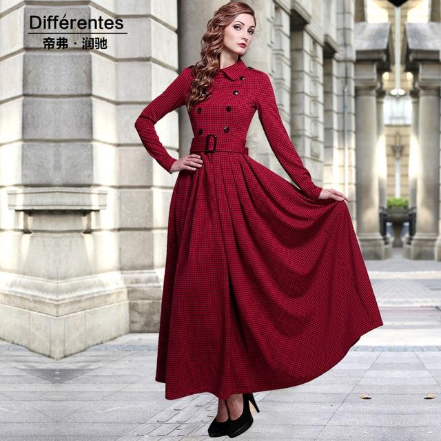 f53c445a375 2015 autumn and winter one-piece dress female fashion vintage long design  plus velvet slim