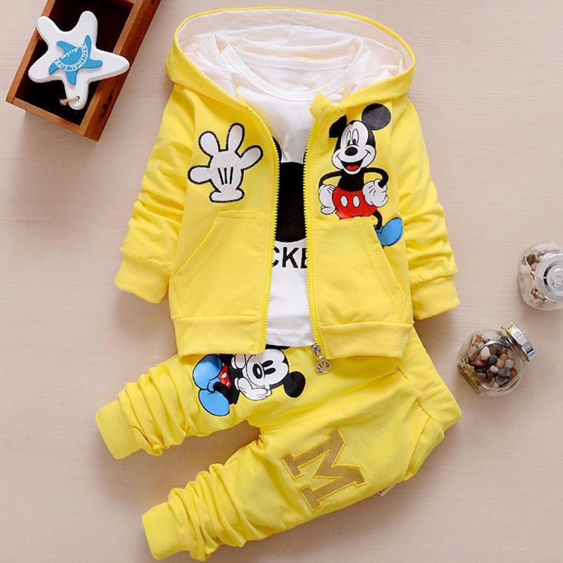 2018baby girls boys 3pcs clothing sets cartoon minnie spring and autumn  children t shirt + vest + pants tracksuits kids clothes