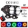 2PCS 125W 12V Motorcycle Headlight Motorbike 3000LM moto spotlights U7 Cree LED chip Driving car Fog Spot Head Light Lamp 2017