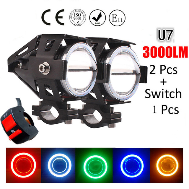 Huiermeimi 2PCS 125W 12V Motorcycle Headlight Motorbike 3000LM moto spotlight U7 LED Driving Fog Spot Head Light Decorative Lamp