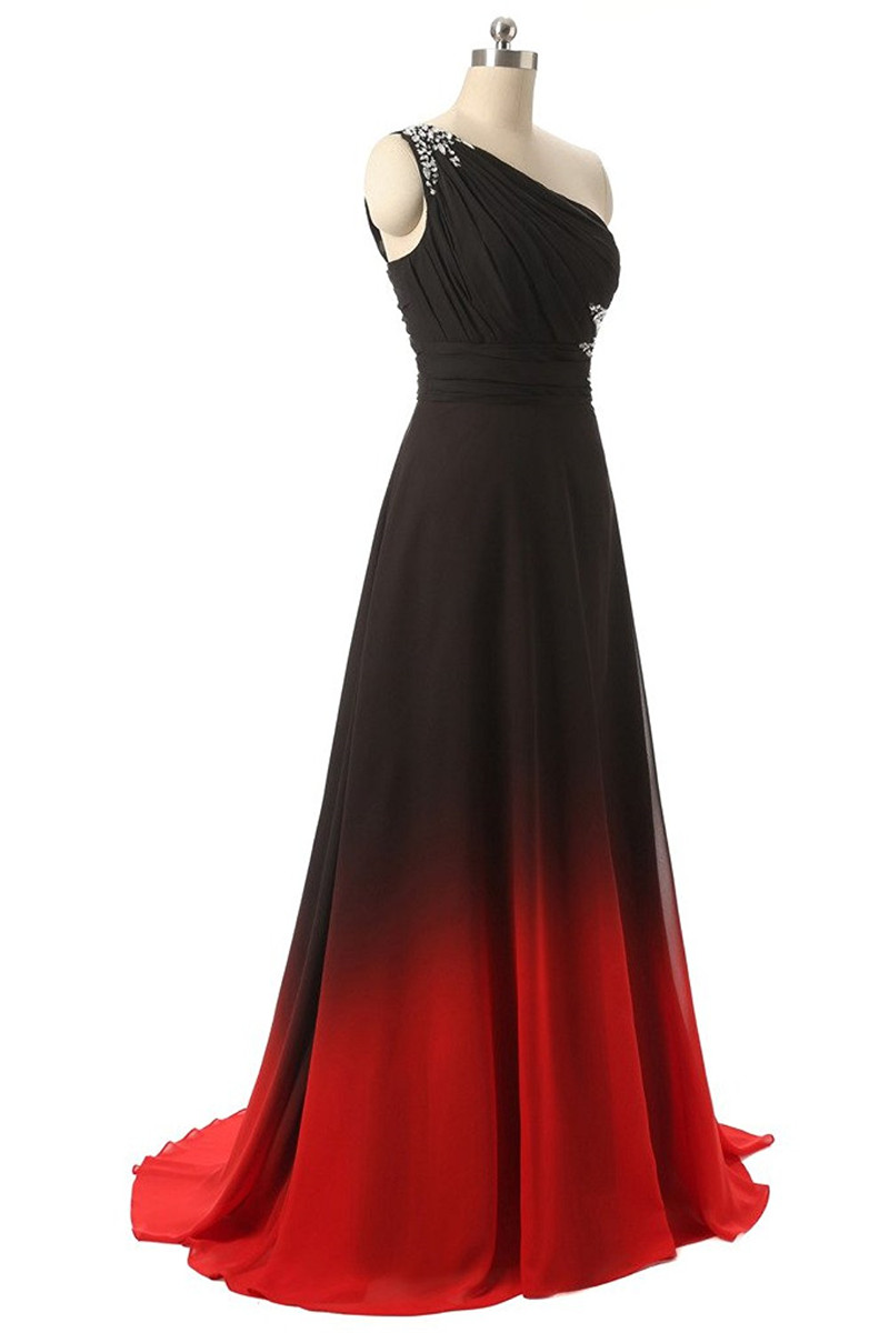 2019 New Long Prom Dress One Shoulder Blackred Gradient Chiffon
