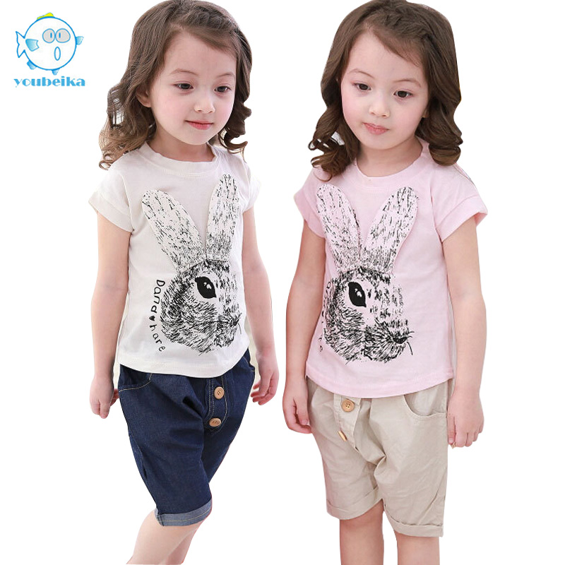 Casual Set Shirts And Pants Fashion Baby Cartoon Girls Short Sleeve Set 2017 New Summer Children Sets Kids Cotton Clothes new fashion kids clothes set baby boys summer 2pcs set short sleeve t shirt and striped short outfit children set