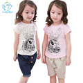 Casual Set Shirts And Pants Fashion Baby Cartoon Girls Short Sleeve Set 2017 New Summer Children Sets Kids Cotton Clothes