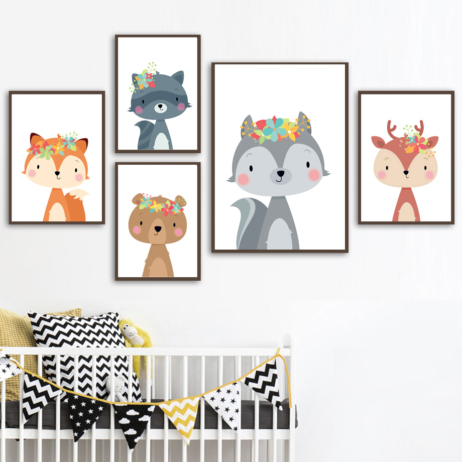 Image 2 - Cute Rabbit Fox Bear Deer Raccoon Nursery Nordic Posters And Prints Wall Art Canvas Painting Wall Pictures Baby Kids Room Decor-in Painting & Calligraphy from Home & Garden