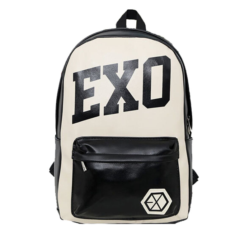 New EXO School Bag KPOP XOXO Vintage Leather Satchel Backpack for GirlsTravel School Bags