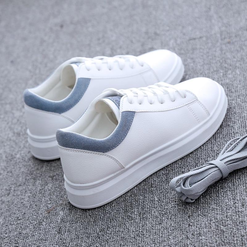 Rose A467 Femmes Plat Sneakers Cuir En Casual Appartements De Blanc IgfYb76vy