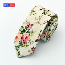 Retail Mens Floral Neck Tie Cotton Linen 6cm Wide Flower Ties Skinny 2017 New Fashion Retro Gravata Slim Red Purple Necktie