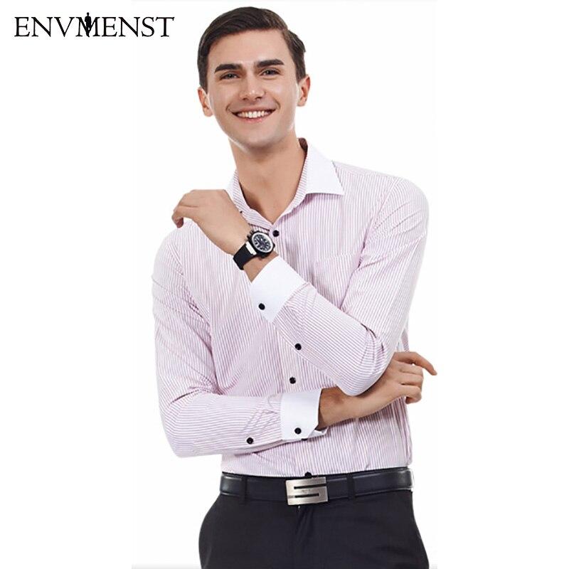 Envmenst Brand Spring New 2017 Men Striped Dress Shirt Formal Fashion Long Sleeve Brand Business Men Casual Shirt Regular Fit