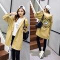 2016 Новый Корейский fashionJacket Пальто Женщин 5 цвета и 6 размер длинные случайные свободные пальто печати письма pattern С Капюшоном Траншеи