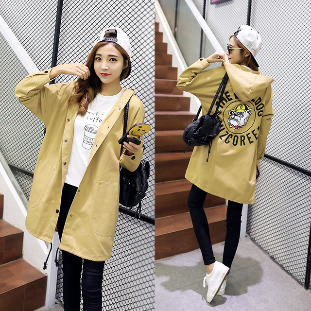 2016 New Korean fashionJacket Women Coats 5 colors and 6 size long casual loose coat printing letters pattern Hooded Trench
