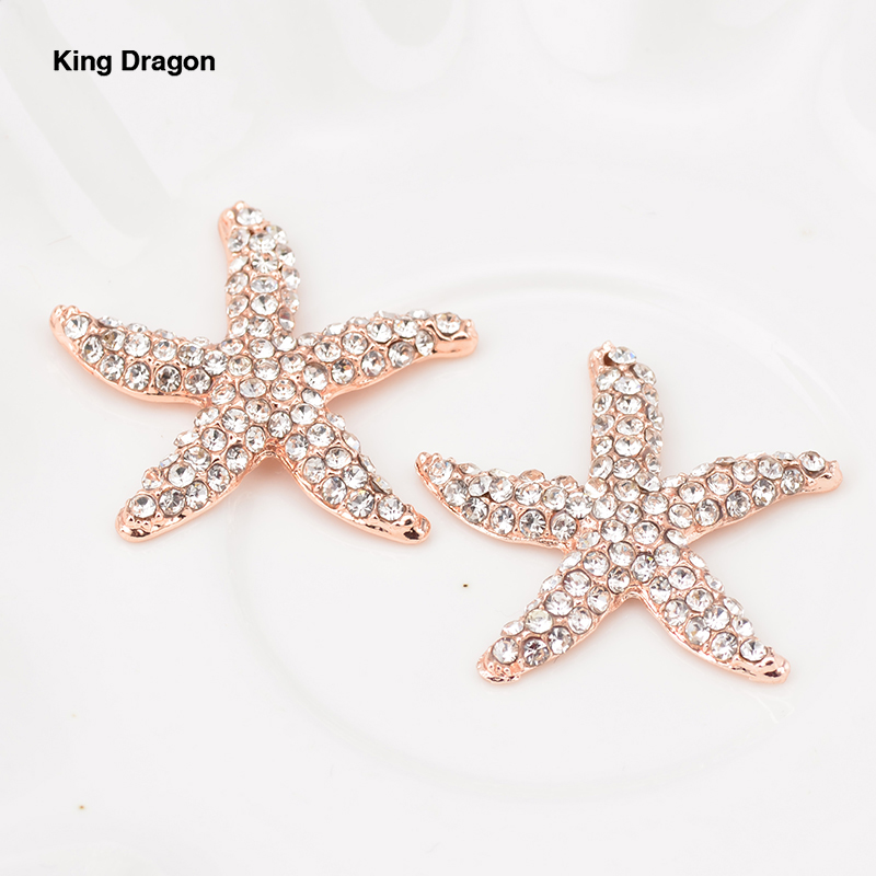 New Arrival Rhinestone Starfish Embellishments Used On Wedding Invitation 32MM 100PCS/Lot 3Colors Flat Back KD560-in Buttons from Home & Garden    1