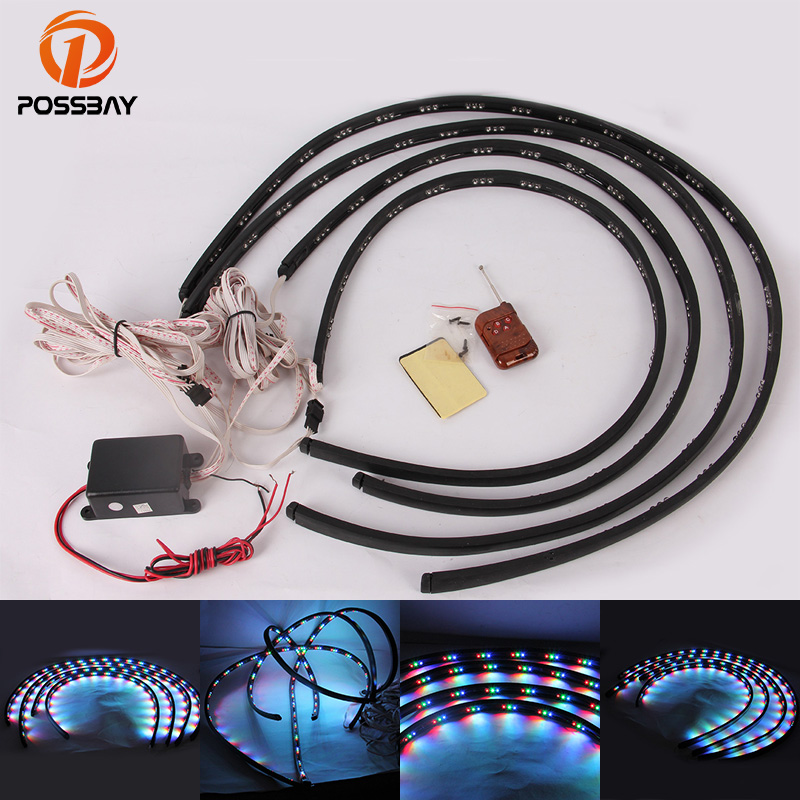 POSSBAY Car Styling 1Set Colorful Car LED Chassis Lamp Underbody Glow Car Atmosphere Light with Remote Control Universal