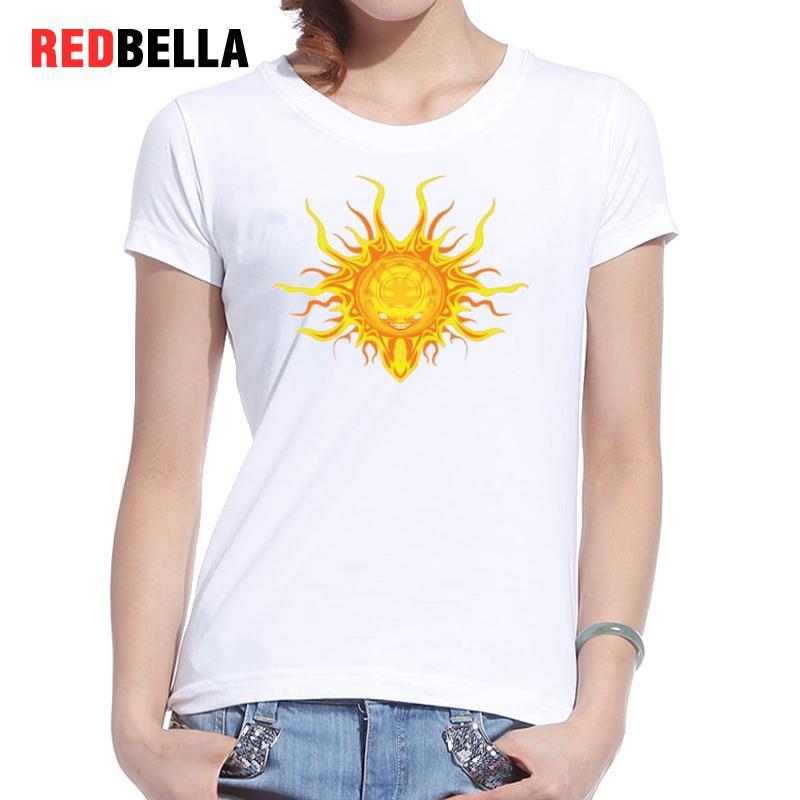 REDBELLA font b Women b font T Shirt Cool Punk Hot Vintage Graphic White Cotton Tops