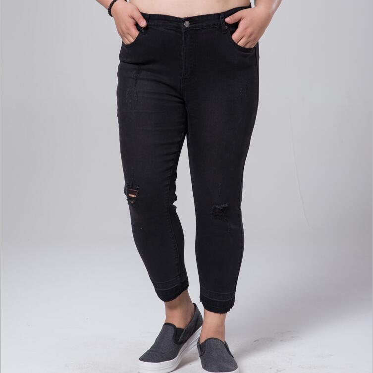 Summer High Elastic Women Pants Jeans Plus Size Tight Trousers Women Denim Pant Capris Jean Perfect For Woman S-6XL plus size pants the spring new jeans pants suspenders ladies denim trousers elastic braces bib overalls for women dungarees