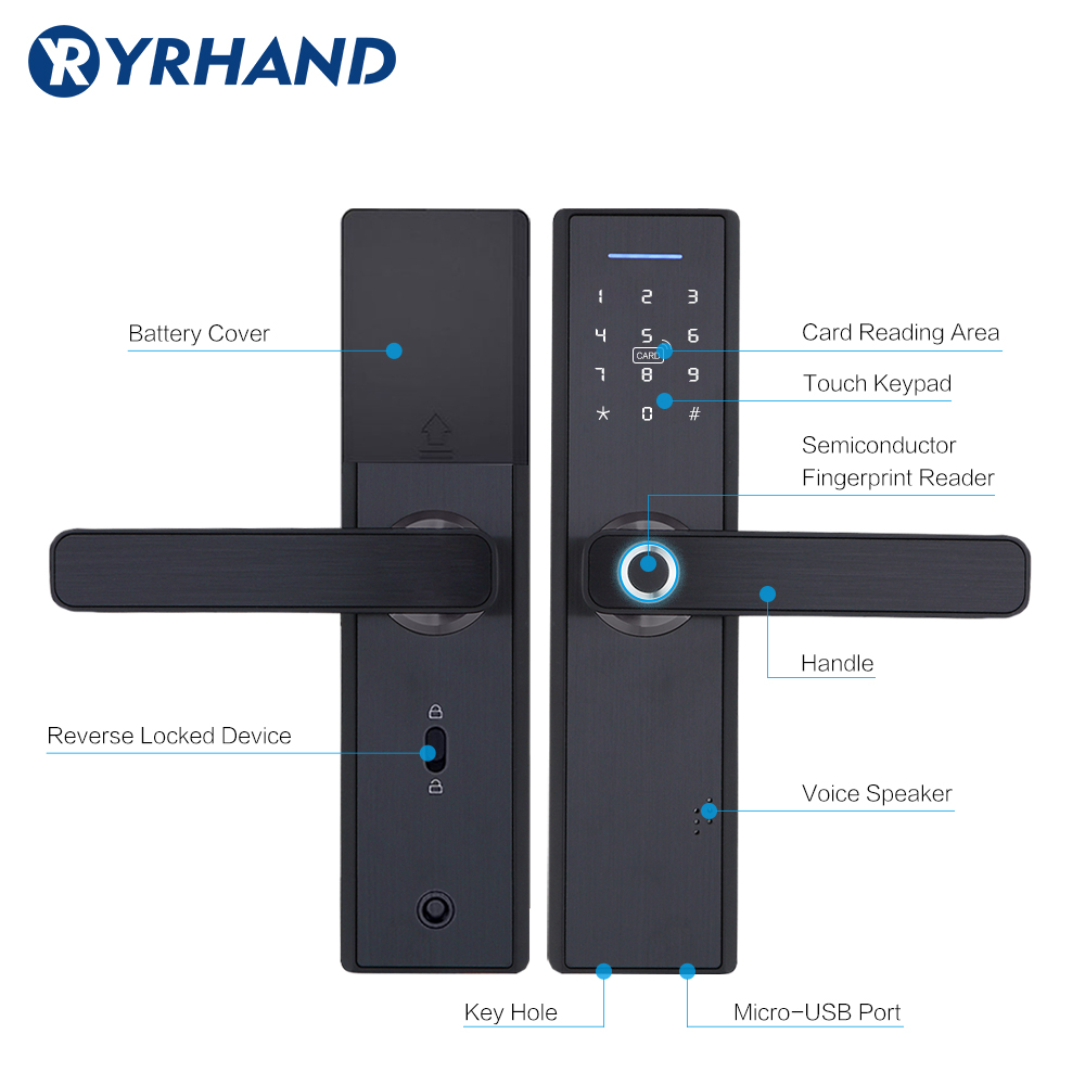 YRHAND Biometric Smart Fingerprint Lock Pad for Intelligent Security With WiFi and Password Protected 8