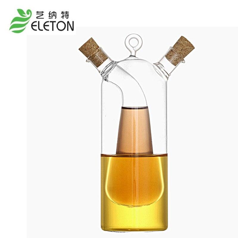 ELETON fournitures De Cuisine bouteille d'huile d'olive en verre cuisine burette huile et vinaigre bouteille double graisseur bouteille bouchon bocal en verre