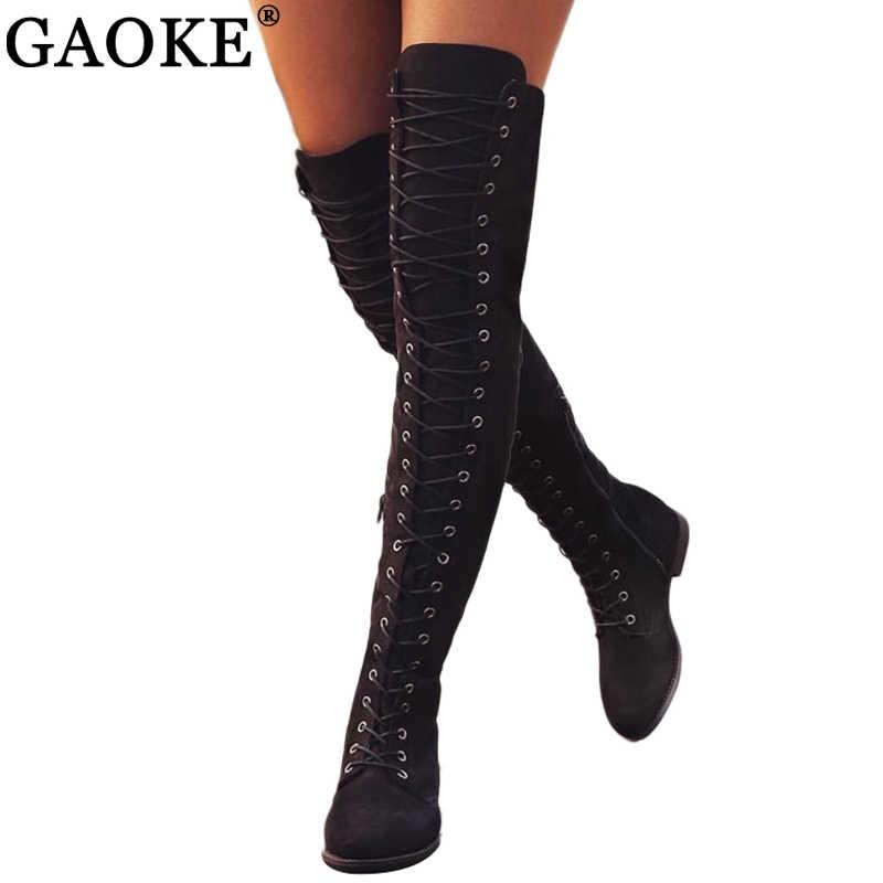 Пикантные ботфорты на шнуровке женские сапоги обувь на плоской подошве женские сапоги из флока на резиновой подошве с квадратным каблуком зимние сапоги до бедра, размеры 34-43