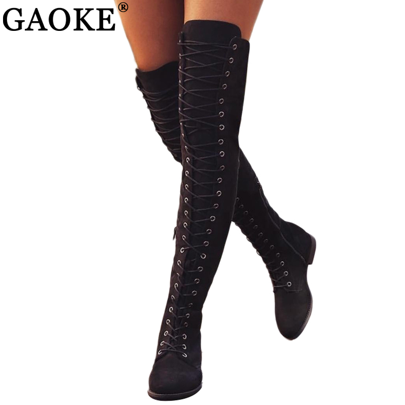Sexy Lace Up sobre la rodilla Botas mujer Botas pisos zapatos mujer Tacón cuadrado rebaño de goma Botas altas de invierno botas 34-43