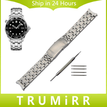 20mm Stainless Steel Watchband for Omega Seamaster Men Replacement Watch Band Curved End Strap Link Belt Wrist Bracelet Silver
