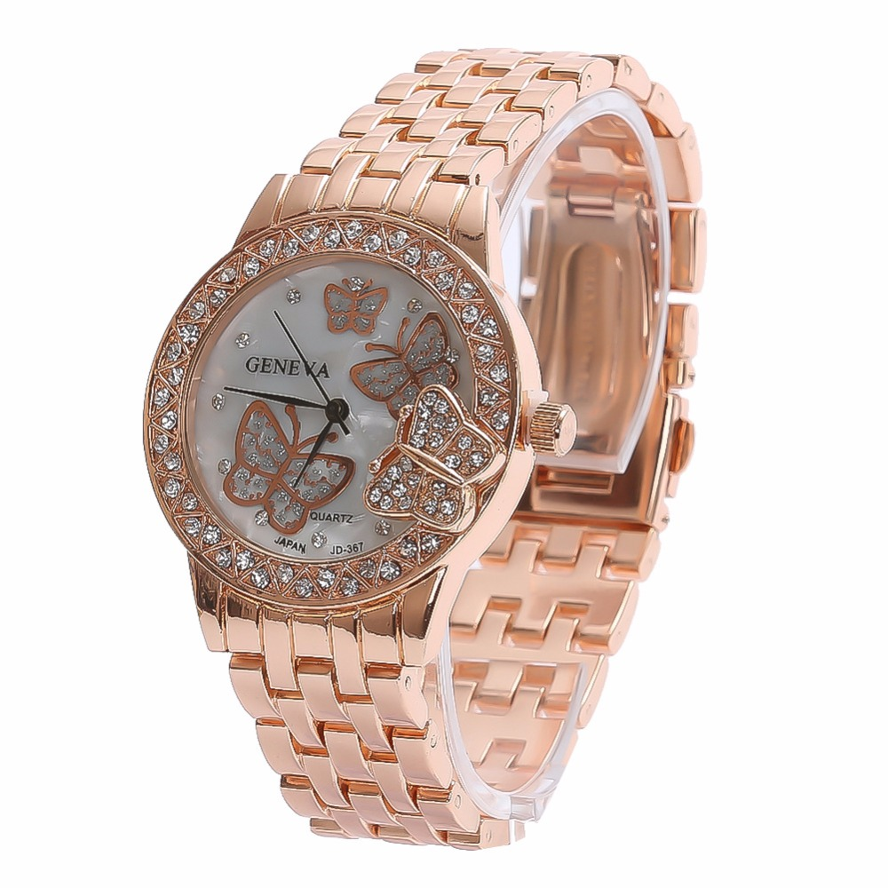 2018 New Fashion Women Gold Butterfly Geneva Watch Casual Luxury Stainless Steel Quartz Ladies Watches Relogio Femininos Clock onlyou brand luxury fashion watches women men quartz watch high quality stainless steel wristwatches ladies dress watch 8892