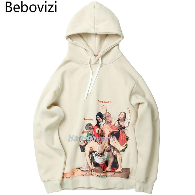 Bebovizi Harajuku Hip Hop drôle Entombment de Christ peinture impression pull à capuche hommes Streetwear abricot Hoodies Sweatshirts