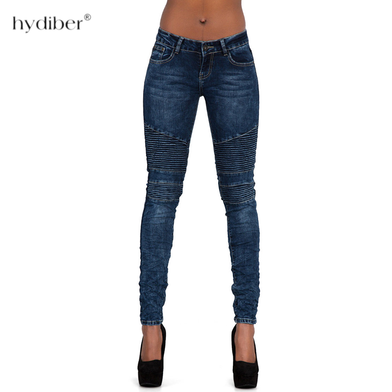 Women`s Motorcycle Biker Zip Mid High Waist Stretch Denim Skinny Pants Motor   Jeans   For Women Pencil Pants 2018