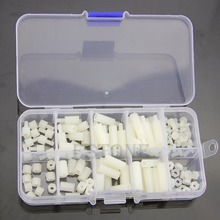 OOTDTY M3 Nylon Hex Spacers Screw Nut Assortment Kit Stand off Plastic Accessories Set