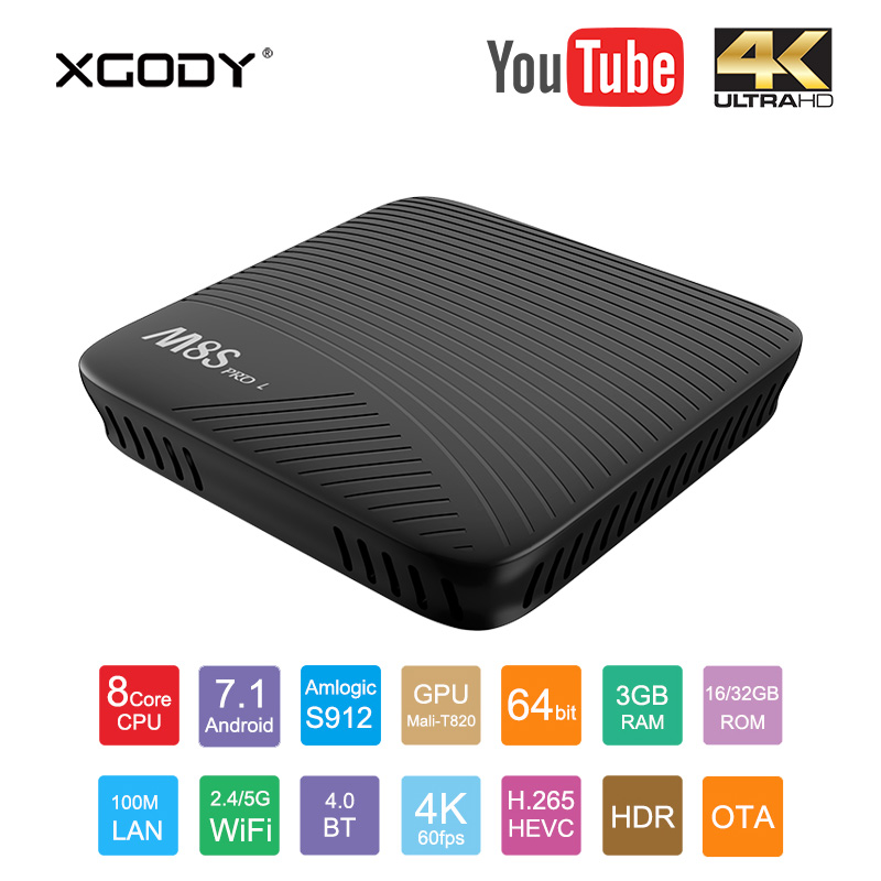 In Stock XGODY M8S Pro L 4K HD Smart TV Box Android 7.1 Amlogic S912 Octa Core 3G+32G Bluetooth V4.1 Voice Control Media Player m8s pro l google voice smart tv box android 7 1 amlogic s912 3g 16g 3g 32g tvbox youtube 4k ultra hd movie bt media player dhl 5