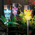 3pcs Solar LED Path Colorized Light Outdoor Garden Lawn Stainless Steel Spot Lamp Mosaic Glass Lamp Shiny