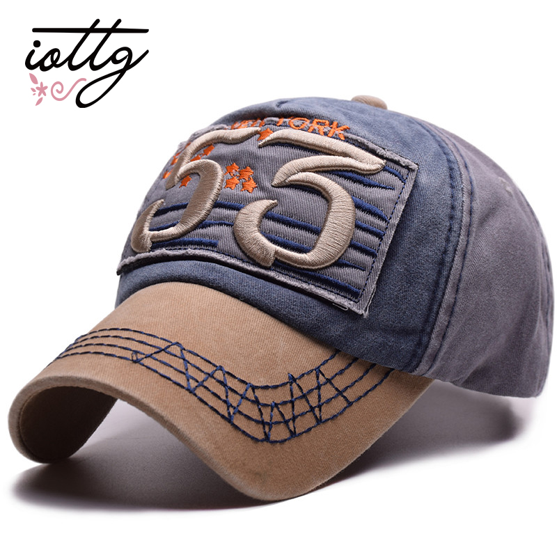 5decea440e0 IOTTG 2018 New Men Cotton Baseball Caps Women Washed Denim Patch 53  Embroidery Cap Hip Hop Bone Casquette Gorras Snapback Hats