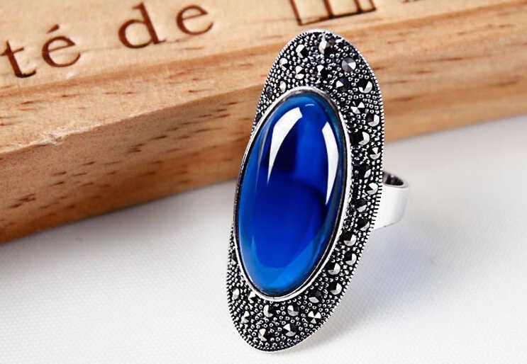 แหวน+++ 412สีดำสีเขียวสีฟ้าอัญมณียาวนิ้วขนาดใหญ่แหวนหญิงแฟชั่นบุคลิกภาพโอ้อวดย้อนยุค