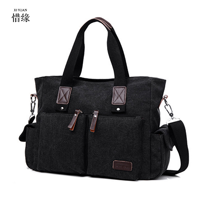 все цены на Vintage Crossbody Bag Dark Khaki Canvas shoulder bags Men messenger bag man Casual Handbag tote Business Briefcase For Computer онлайн