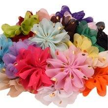 300 шт Новое поступление 7,5 см пышные шифоновые Цветочные Бутик аксессуаров для волос diy аксессуары цветок для повязки на голову без зажима