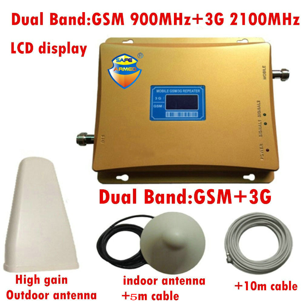 GSM 3G Repeater Dual Band GSM 900 MHz 2100 MHz W-CDMA UMTS Repetidor 3G Antenna Signal Amplifier 2G 3G Cell Phone Booster Sets image