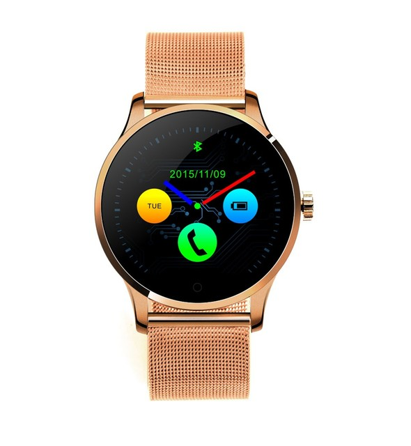 Creative SmartWatch Men KW18 Bluetooth SmartWatch Heart Rate Track Wristwatch Stainless Steel Leather band Sports Watch