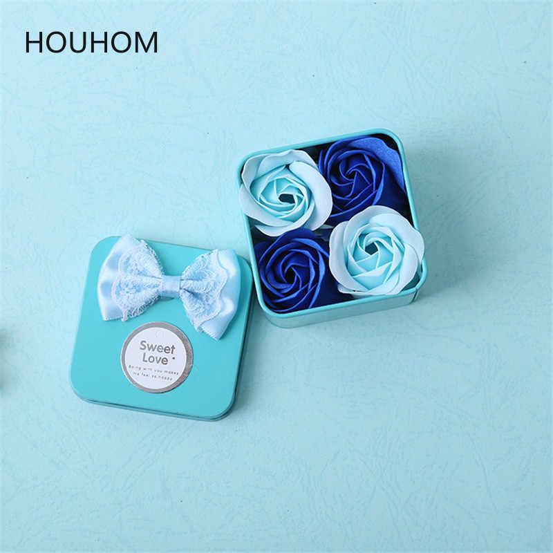 4pcs Presentes De Casamento para Convidados Lembranças Do Bebê Banho Perfumado Corpo Pétala de Rosa Flor Sabão Presentes Da Dama de honra Presente Partido Favores
