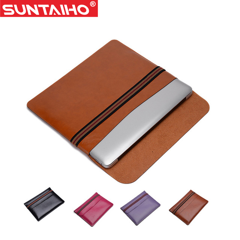 2016 Women Man Fashion PU Leather Laptop Sleeve Bag Protective Notebook Case Computer Cover for Macbook 12 air Pro 13 15 inch