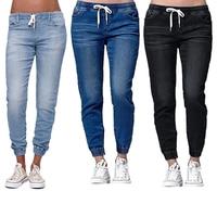 2018 новые осенние брюки-карандаш, винтажные джинсы с высокой талией, новые женские брюки, длинные штаны, свободные штаны для мальчиков, больш...