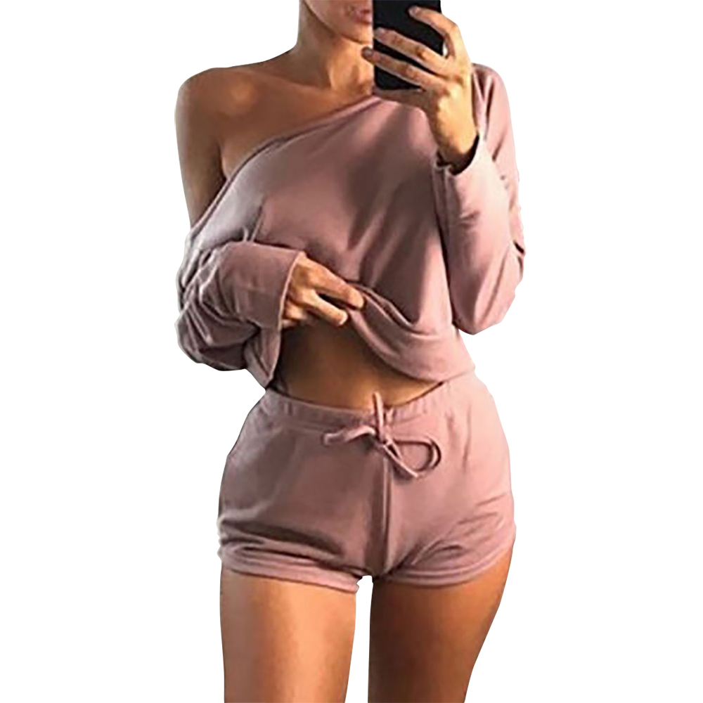 Summer 2019 Sexy Women Two Pieces Slash Neck Hoodies Tops Cotton Drawstring Shorts Lady Spring Casual Suit Plus Size Mujer GV366
