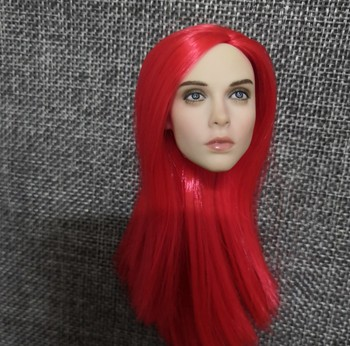 1/6 European Beauty Women Head with Red Long Hair Charming Head for 12'' Bodies Action Figures