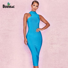 dcd1af555 2019 nueva moda vestido azul de estiramiento Vestidos vestido de verano de  las mujeres Slim Fit Collar especial diseño parte anf.
