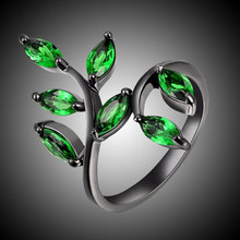 2017 New Fashion Green Stone Jewelry Female Simple Plant ring Black Filled Women Party Ring R049BGE