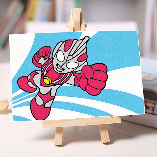 children DIY Ultraman oil Painting small art poster coloring By ...