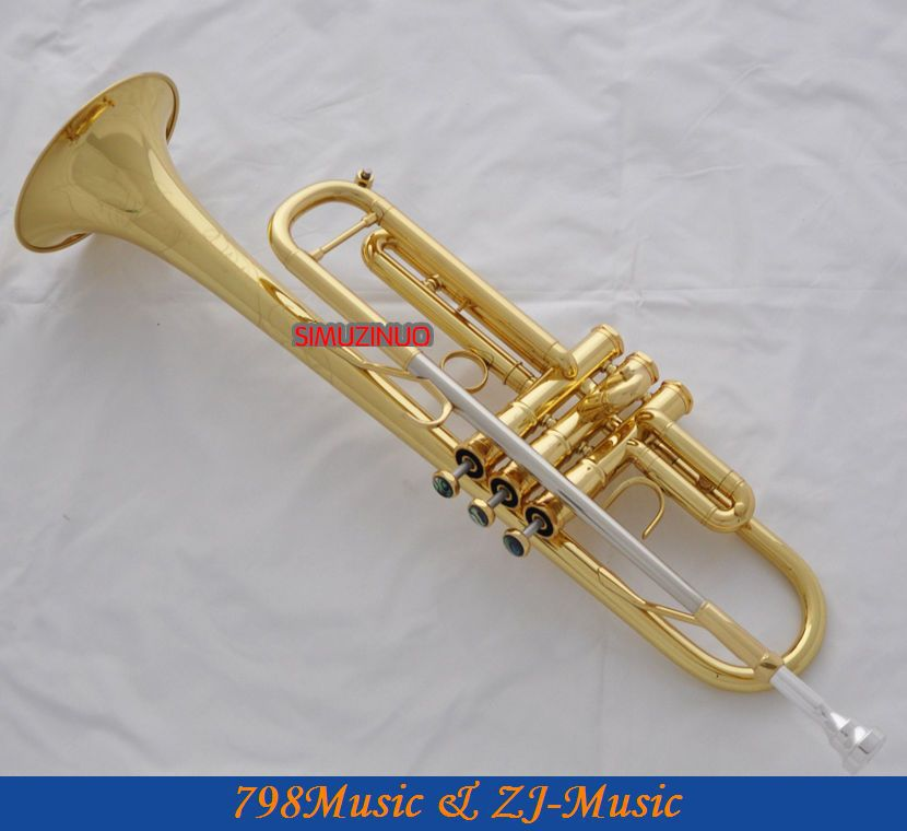 Professional JAZZ Trumpet Gold B-Flat Horn Monel Valves Abalone Shell Key + Case