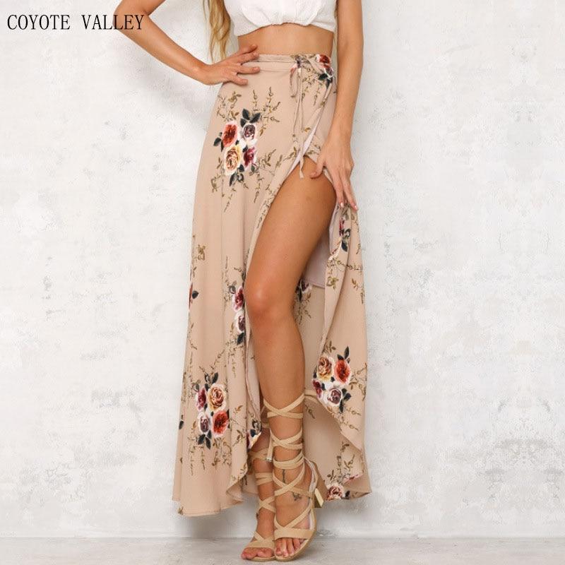 2017 Floral print women bohemian split long skirt Summer sexy girls 90s high waist casual loose maxi skirts female saia