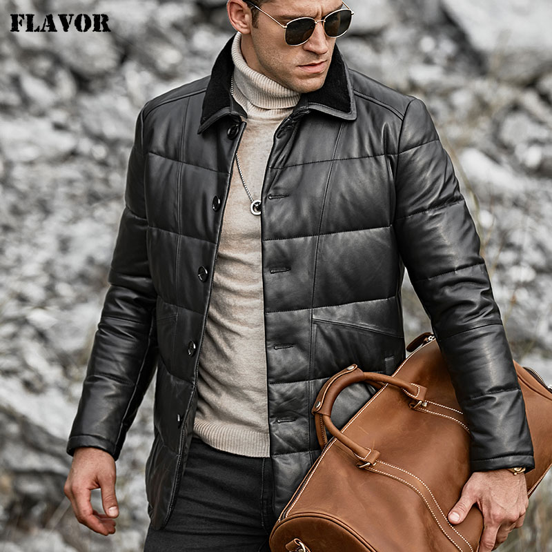 Image 3 - FLAVOR Men's Real Leather Down Jacket Men Genuine Lambskin Winter Warm Leather Coat with Turn down Sheep Fur Collar-in Genuine Leather Coats from Men's Clothing
