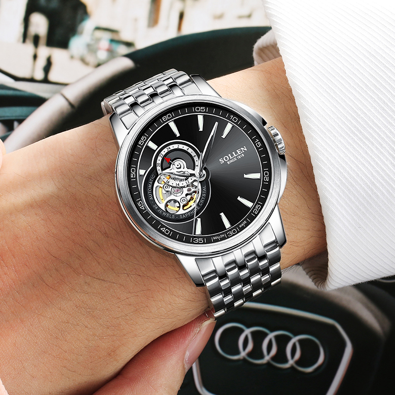 Men Watch Top SOLLEN Brand Luxury Male Business Watch Design Automatic Mechanical Stainless Steel Wristwatches Luminous Relogio luxury brand sollen men s business watch automatic machinery stainless steel milanian wristband successful man watches male new