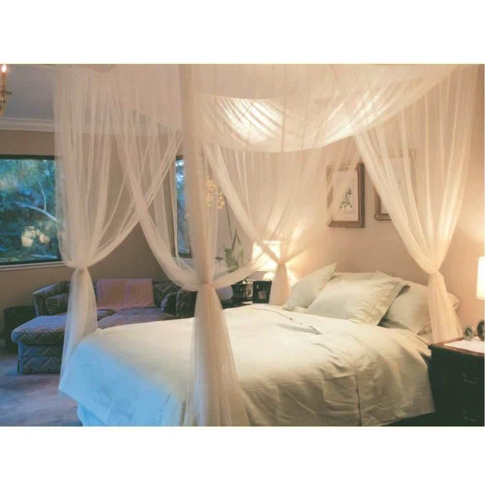 White three door princess mosquito net double bed curtains - King size canopy bed with curtains ...